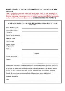 Application form for the individual burial or cremation of fetal remains