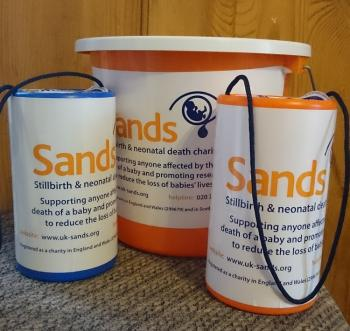 Sands, collection tin, buckets