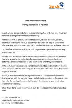 Position Statement storing keepsakes in hospitals